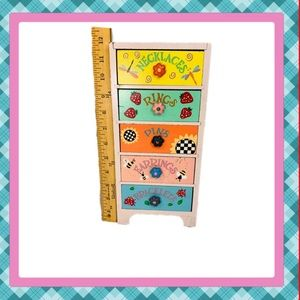 Hand Painted Wooden Five Drawer Jewelry Box